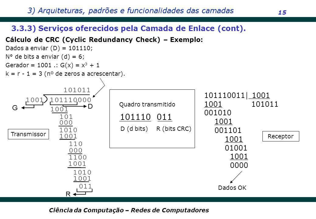 101110 011 3.3.3) Serviços oferecidos pela Camada de Enlace (cont).