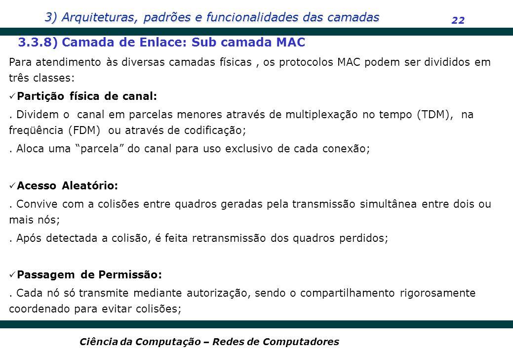 3.3.8) Camada de Enlace: Sub camada MAC