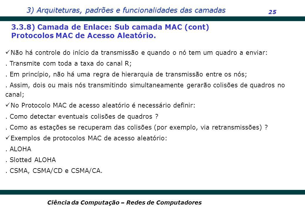 3.3.8) Camada de Enlace: Sub camada MAC (cont)