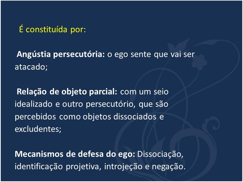 É constituída por: Angústia persecutória: o ego sente que vai ser. atacado; Relação de objeto parcial: com um seio.