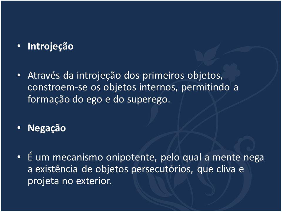 Introjeção Através da introjeção dos primeiros objetos, constroem-se os objetos internos, permitindo a formação do ego e do superego.