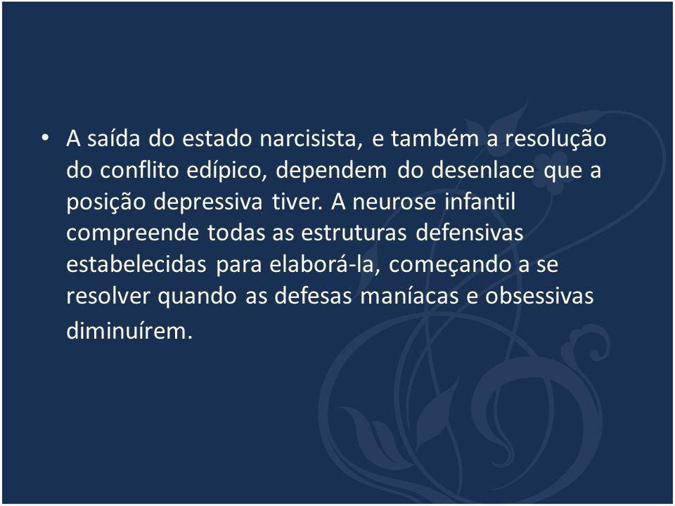 A saída do estado narcisista, e também a resolução do conflito edípico, dependem do desenlace que a posição depressiva tiver.