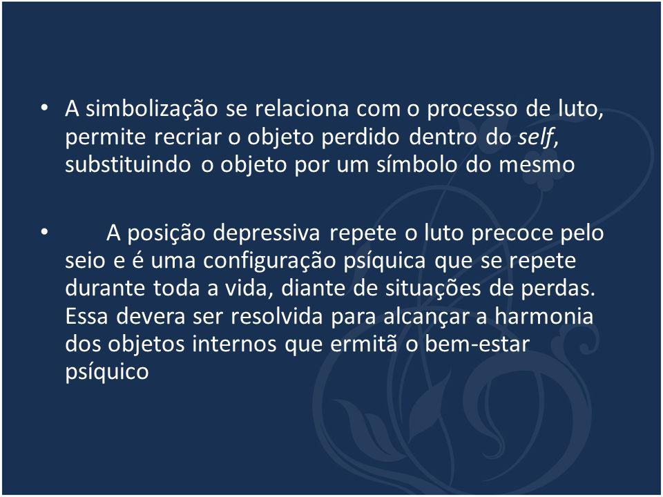 A simbolização se relaciona com o processo de luto, permite recriar o objeto perdido dentro do self, substituindo o objeto por um símbolo do mesmo