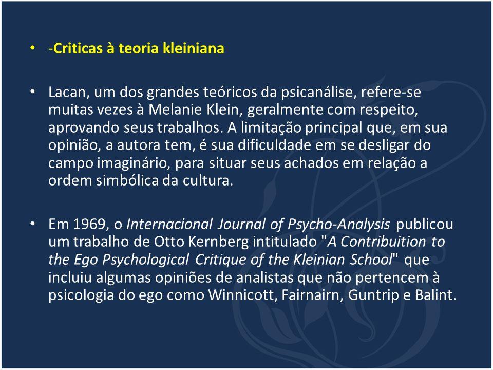-Criticas à teoria kleiniana