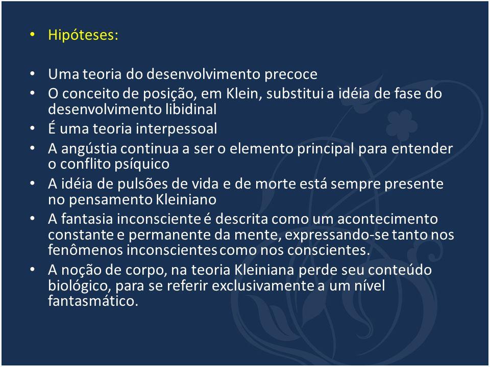 Hipóteses: Uma teoria do desenvolvimento precoce. O conceito de posição, em Klein, substitui a idéia de fase do desenvolvimento libidinal.