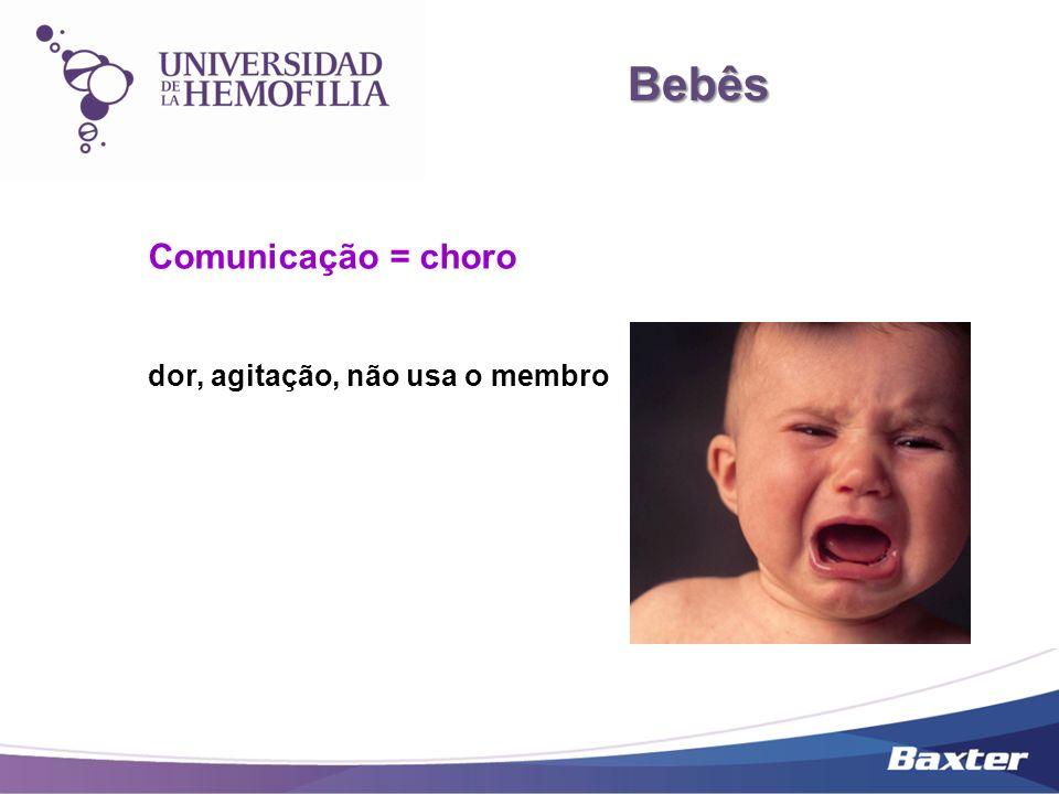 Bebês Comunicação = choro dor, agitação, não usa o membro