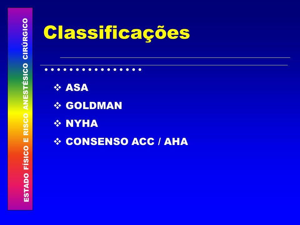Classificações ASA GOLDMAN NYHA CONSENSO ACC / AHA