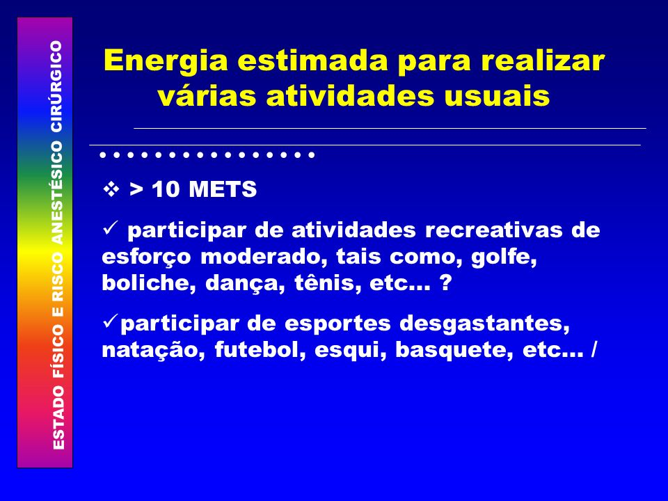 Energia estimada para realizar várias atividades usuais