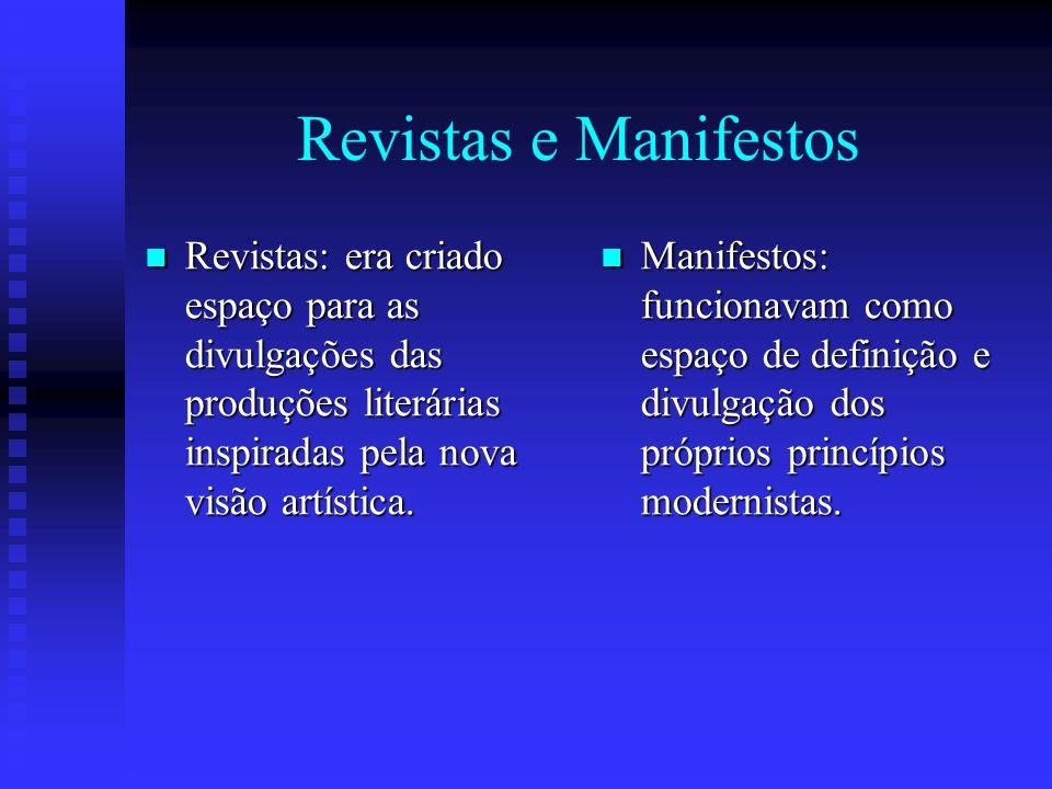 Revistas e Manifestos Revistas: era criado espaço para as divulgações das produções literárias inspiradas pela nova visão artística.