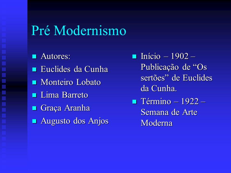 Pré Modernismo Autores: Euclides da Cunha Monteiro Lobato Lima Barreto