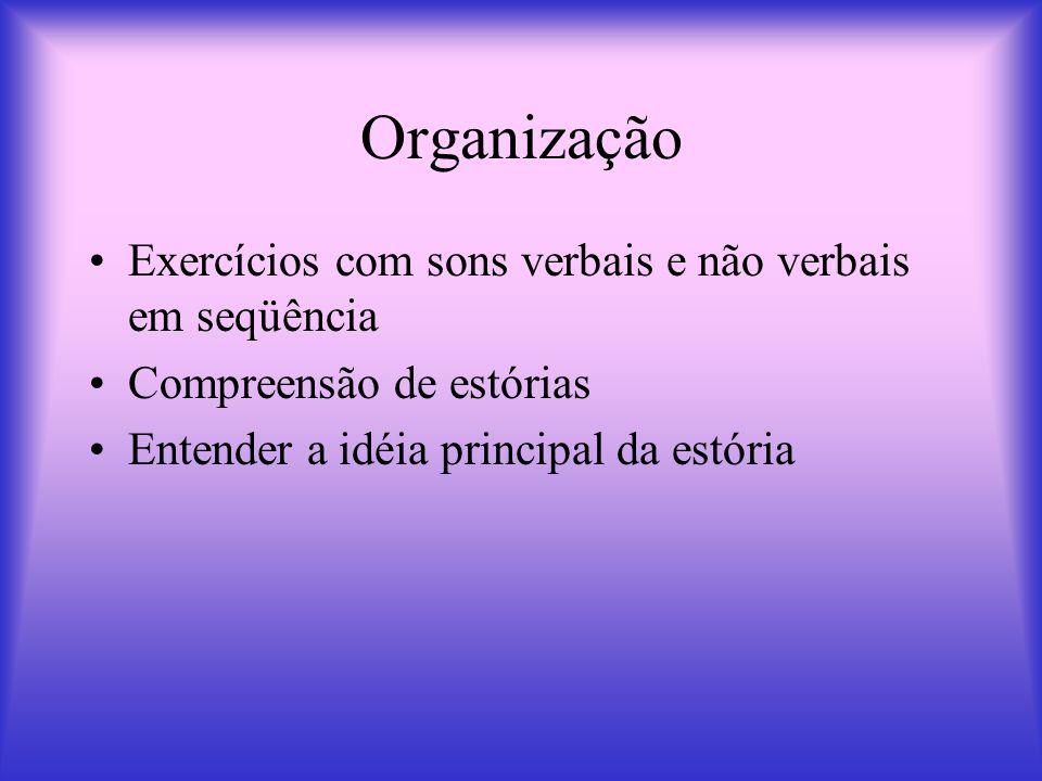 Organização Exercícios com sons verbais e não verbais em seqüência
