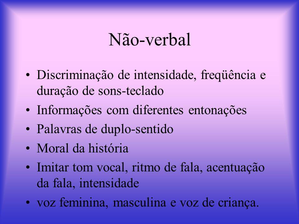Não-verbal Discriminação de intensidade, freqüência e duração de sons-teclado. Informações com diferentes entonações.