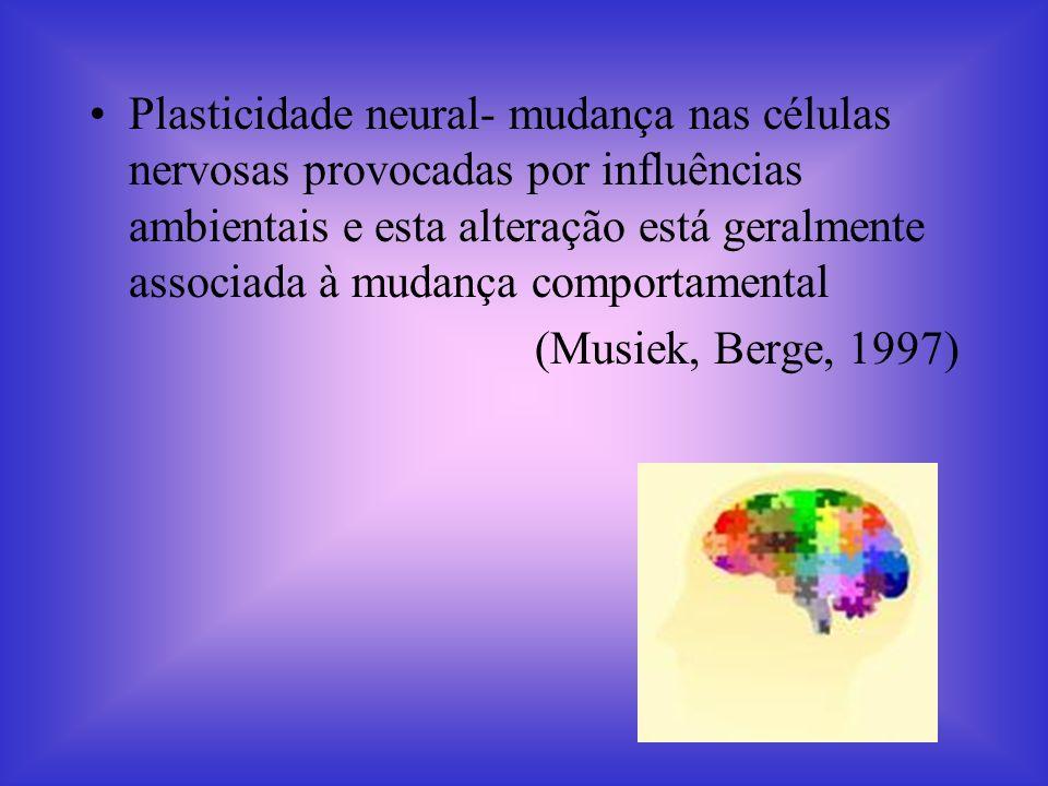 Plasticidade neural- mudança nas células nervosas provocadas por influências ambientais e esta alteração está geralmente associada à mudança comportamental