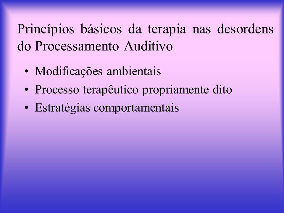 Princípios básicos da terapia nas desordens do Processamento Auditivo