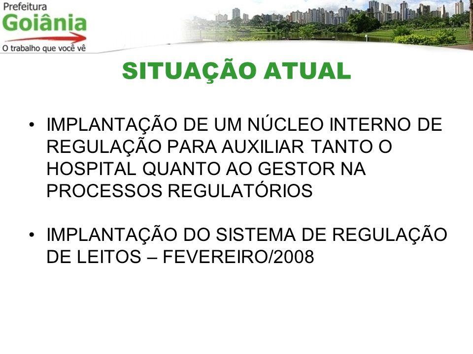 SITUAÇÃO ATUAL IMPLANTAÇÃO DE UM NÚCLEO INTERNO DE REGULAÇÃO PARA AUXILIAR TANTO O HOSPITAL QUANTO AO GESTOR NA PROCESSOS REGULATÓRIOS.