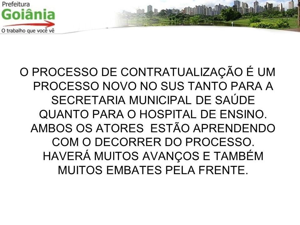 O PROCESSO DE CONTRATUALIZAÇÃO É UM PROCESSO NOVO NO SUS TANTO PARA A SECRETARIA MUNICIPAL DE SAÚDE QUANTO PARA O HOSPITAL DE ENSINO.