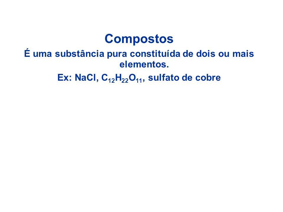 Compostos É uma substância pura constituída de dois ou mais elementos.