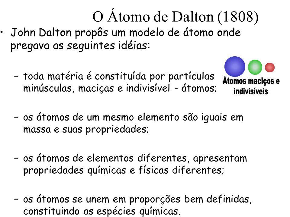 O Átomo de Dalton (1808) John Dalton propôs um modelo de átomo onde pregava as seguintes idéias: