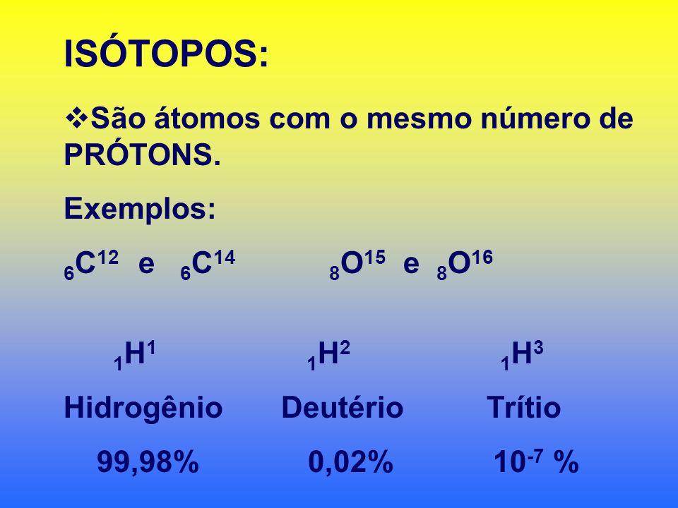 ISÓTOPOS: São átomos com o mesmo número de PRÓTONS. Exemplos: