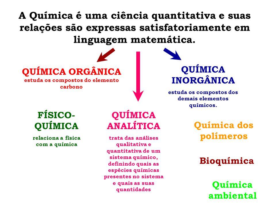A Química é uma ciência quantitativa e suas relações são expressas satisfatoriamente em linguagem matemática.