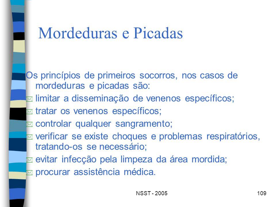 Mordeduras e PicadasOs princípios de primeiros socorros, nos casos de mordeduras e picadas são: limitar a disseminação de venenos específicos;