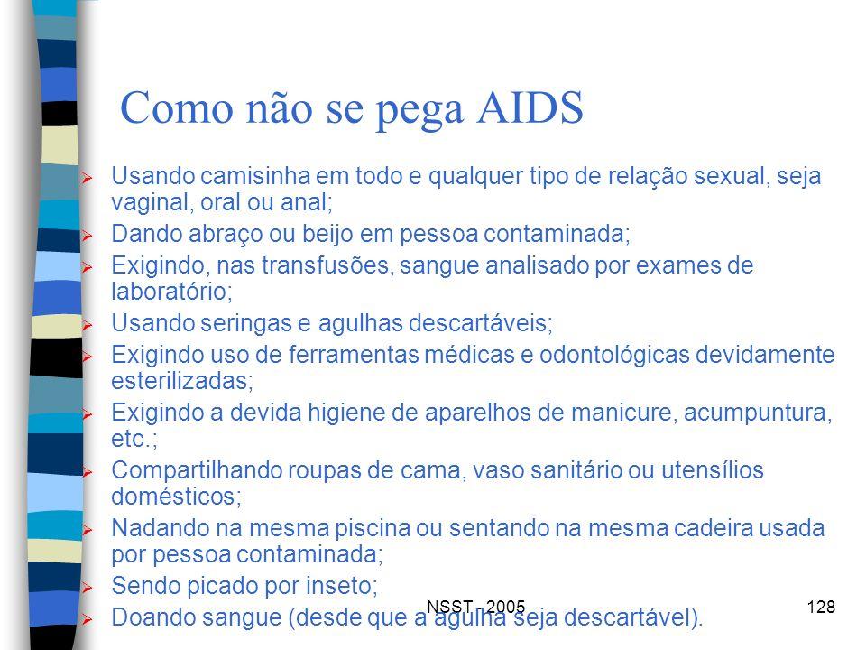 Como não se pega AIDSUsando camisinha em todo e qualquer tipo de relação sexual, seja vaginal, oral ou anal;