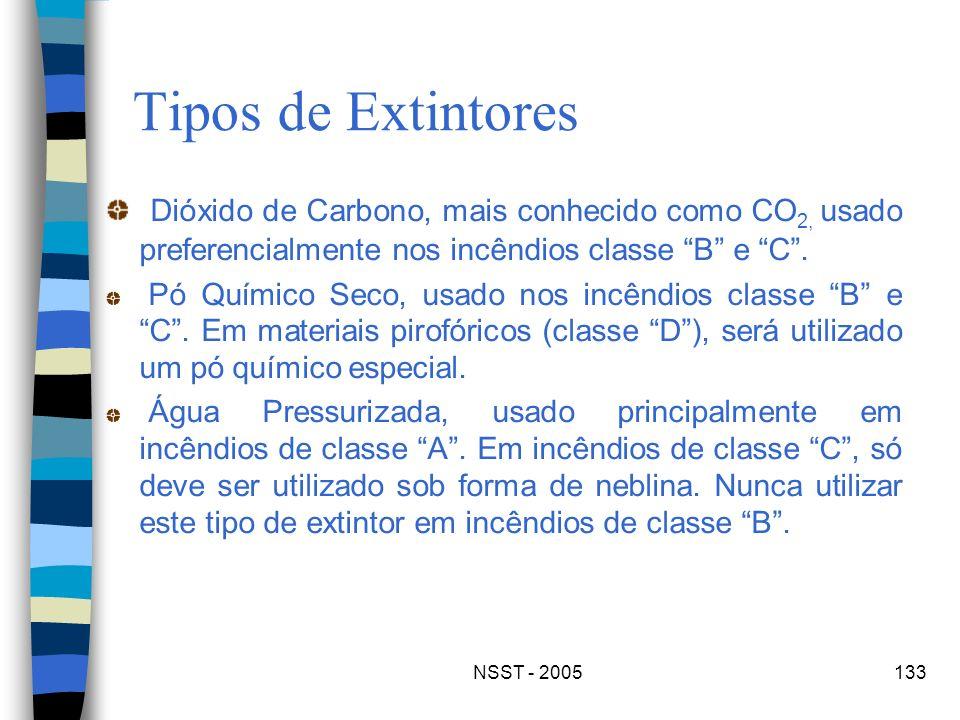 Tipos de ExtintoresDióxido de Carbono, mais conhecido como CO2, usado preferencialmente nos incêndios classe B e C .