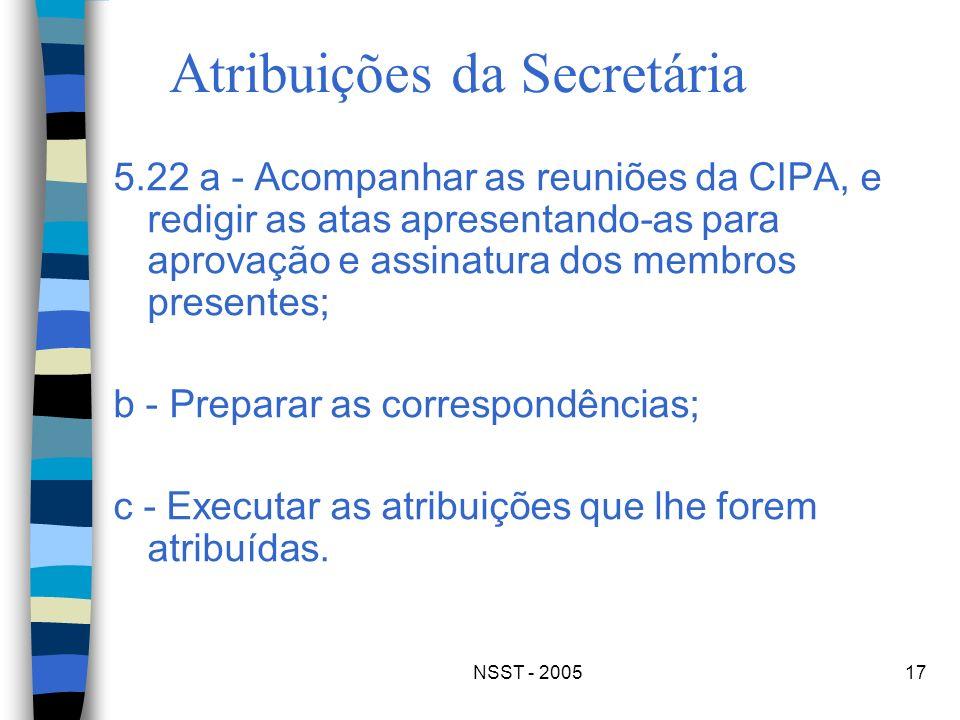 Atribuições da Secretária