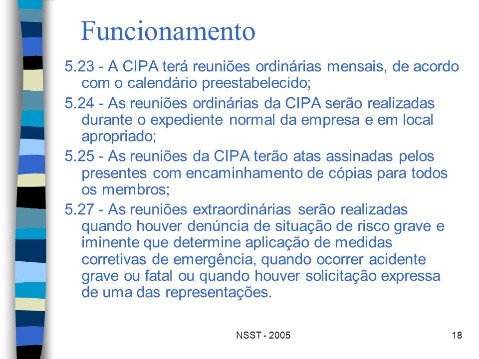 Funcionamento 5.23 - A CIPA terá reuniões ordinárias mensais, de acordo com o calendário preestabelecido;