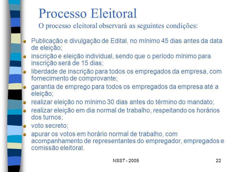 Processo Eleitoral O processo eleitoral observará as seguintes condições: