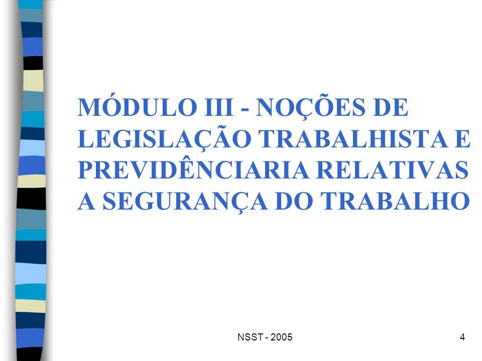 MÓDULO III - NOÇÕES DE LEGISLAÇÃO TRABALHISTA E PREVIDÊNCIARIA RELATIVAS A SEGURANÇA DO TRABALHO