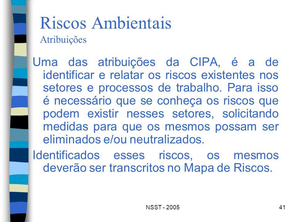 Riscos Ambientais Atribuições