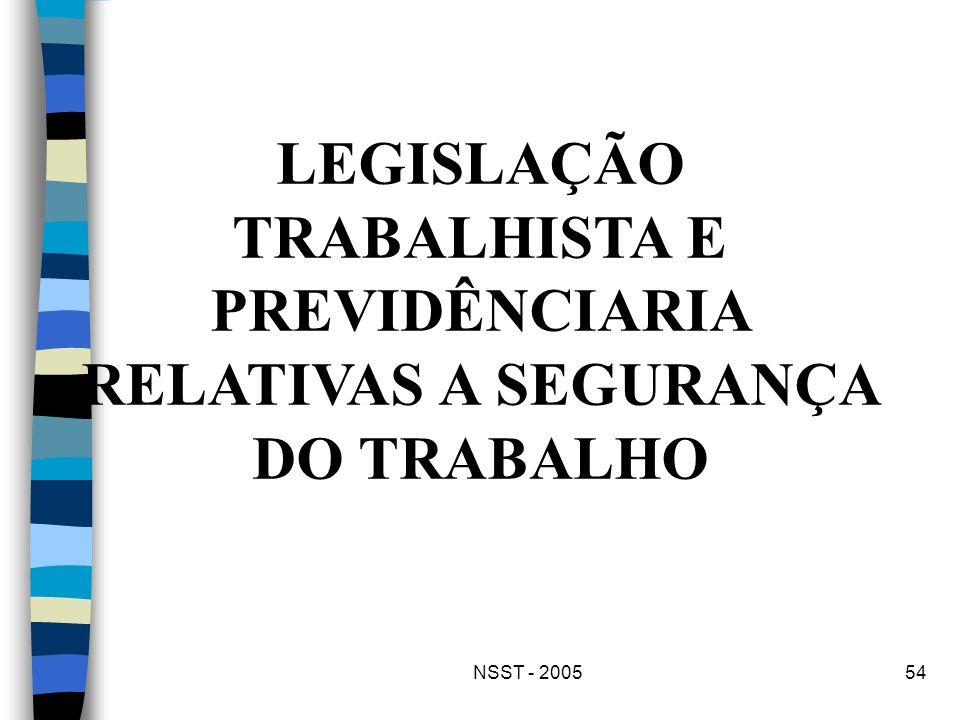 LEGISLAÇÃO TRABALHISTA E PREVIDÊNCIARIA RELATIVAS A SEGURANÇA DO TRABALHO
