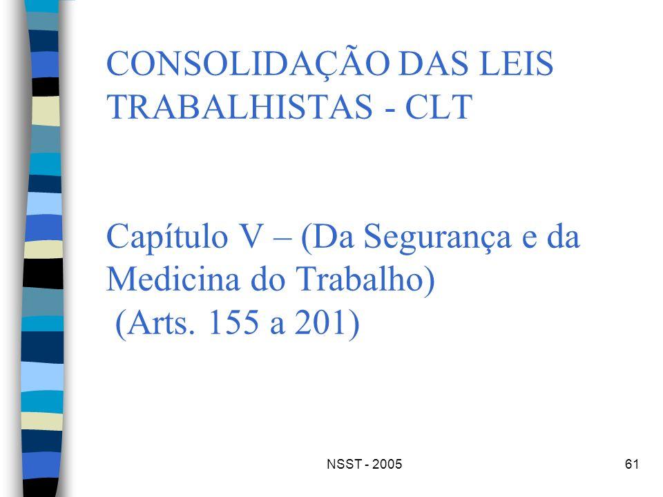 CONSOLIDAÇÃO DAS LEIS TRABALHISTAS - CLT Capítulo V – (Da Segurança e da Medicina do Trabalho) (Arts. 155 a 201)