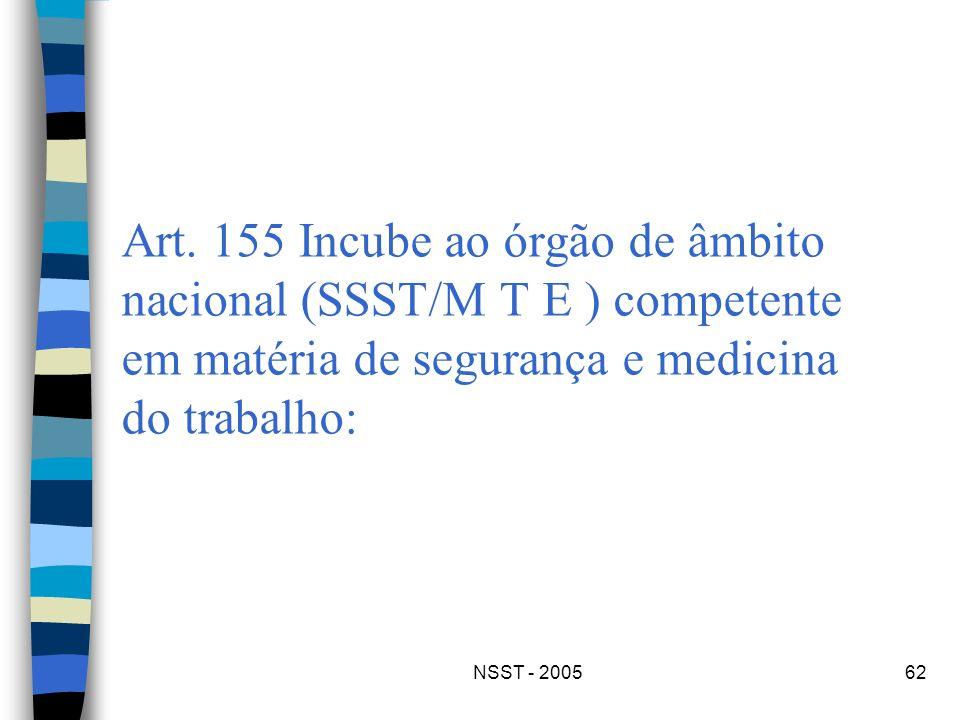 Art. 155 Incube ao órgão de âmbito nacional (SSST/M T E ) competente em matéria de segurança e medicina do trabalho: