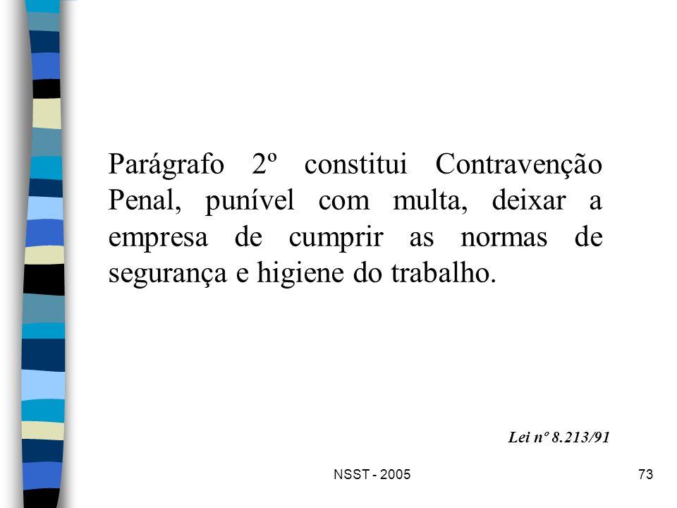 Parágrafo 2º constitui Contravenção Penal, punível com multa, deixar a empresa de cumprir as normas de segurança e higiene do trabalho.