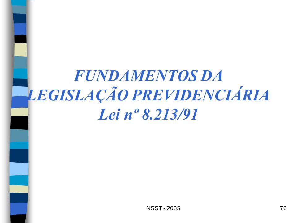 FUNDAMENTOS DA LEGISLAÇÃO PREVIDENCIÁRIA Lei nº 8.213/91
