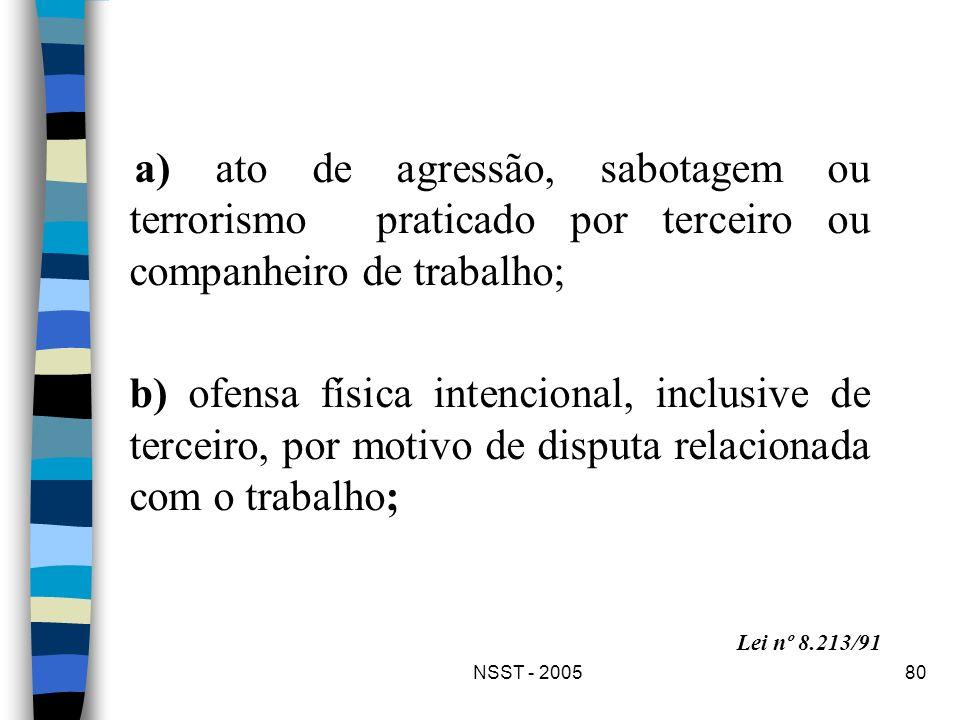 a) ato de agressão, sabotagem ou terrorismo praticado por terceiro ou companheiro de trabalho;