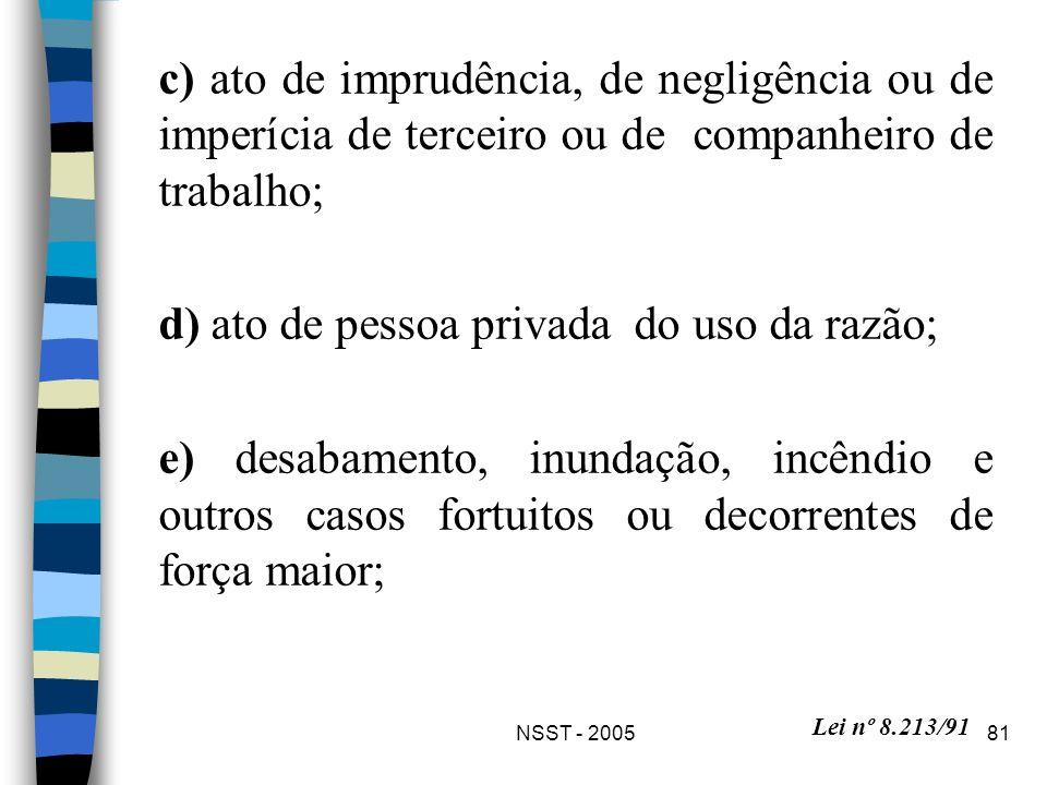 d) ato de pessoa privada do uso da razão;