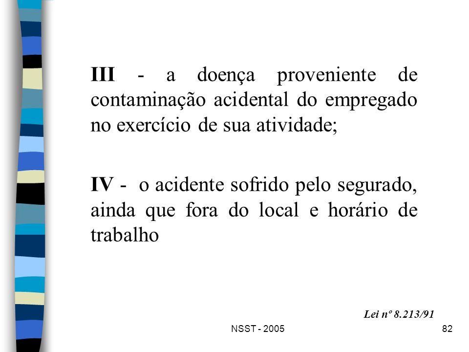 III - a doença proveniente de contaminação acidental do empregado no exercício de sua atividade;
