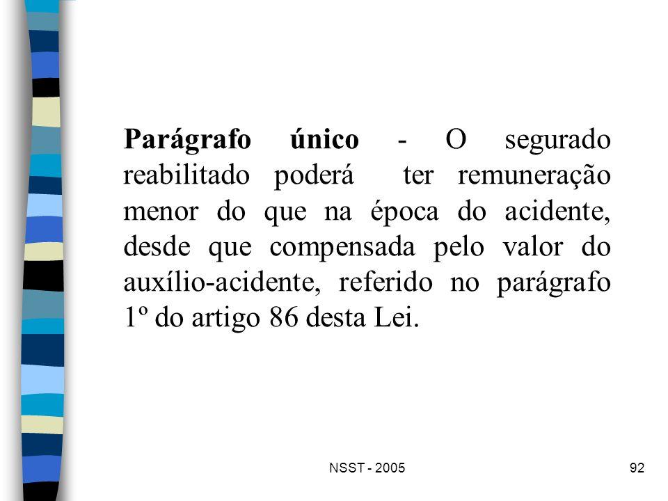 Parágrafo único - O segurado reabilitado poderá ter remuneração menor do que na época do acidente, desde que compensada pelo valor do auxílio-acidente, referido no parágrafo 1º do artigo 86 desta Lei.