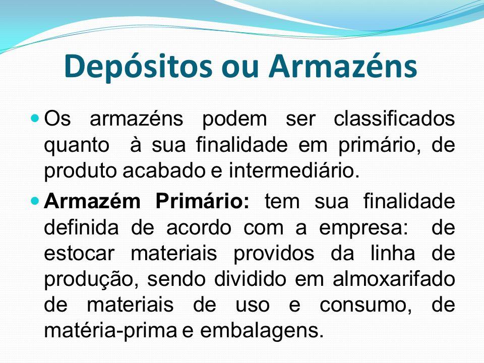 Depósitos ou Armazéns Os armazéns podem ser classificados quanto à sua finalidade em primário, de produto acabado e intermediário.