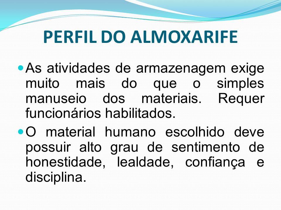 PERFIL DO ALMOXARIFE As atividades de armazenagem exige muito mais do que o simples manuseio dos materiais. Requer funcionários habilitados.