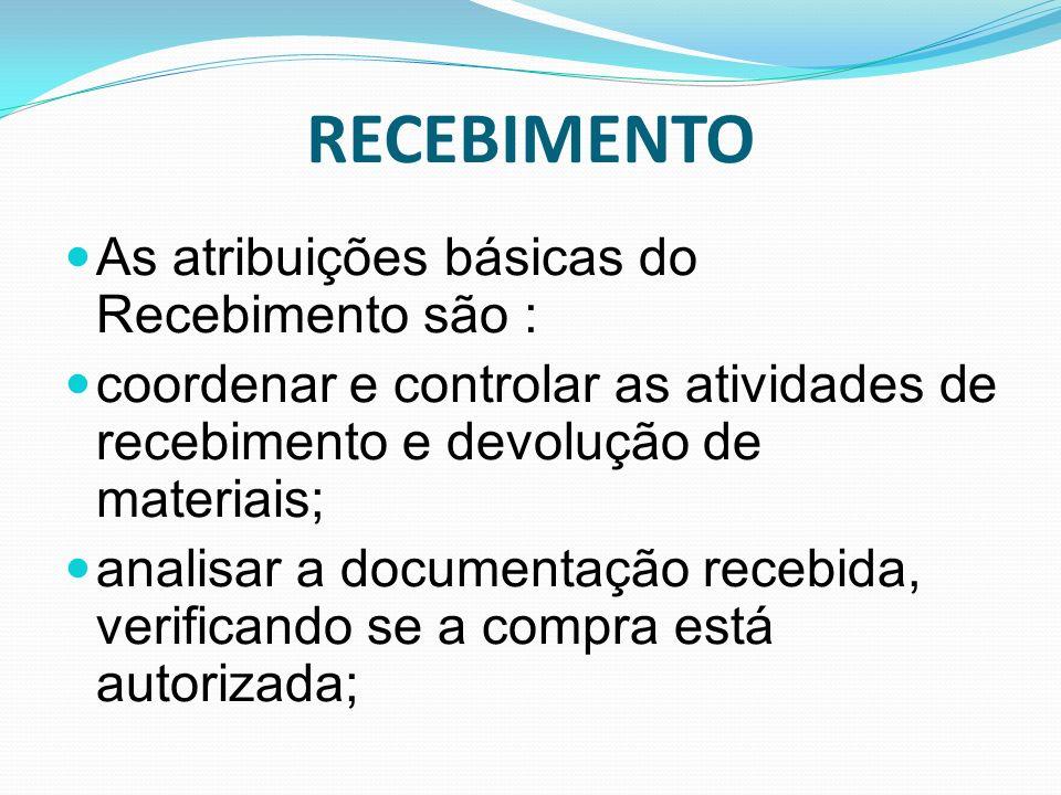 RECEBIMENTO As atribuições básicas do Recebimento são :