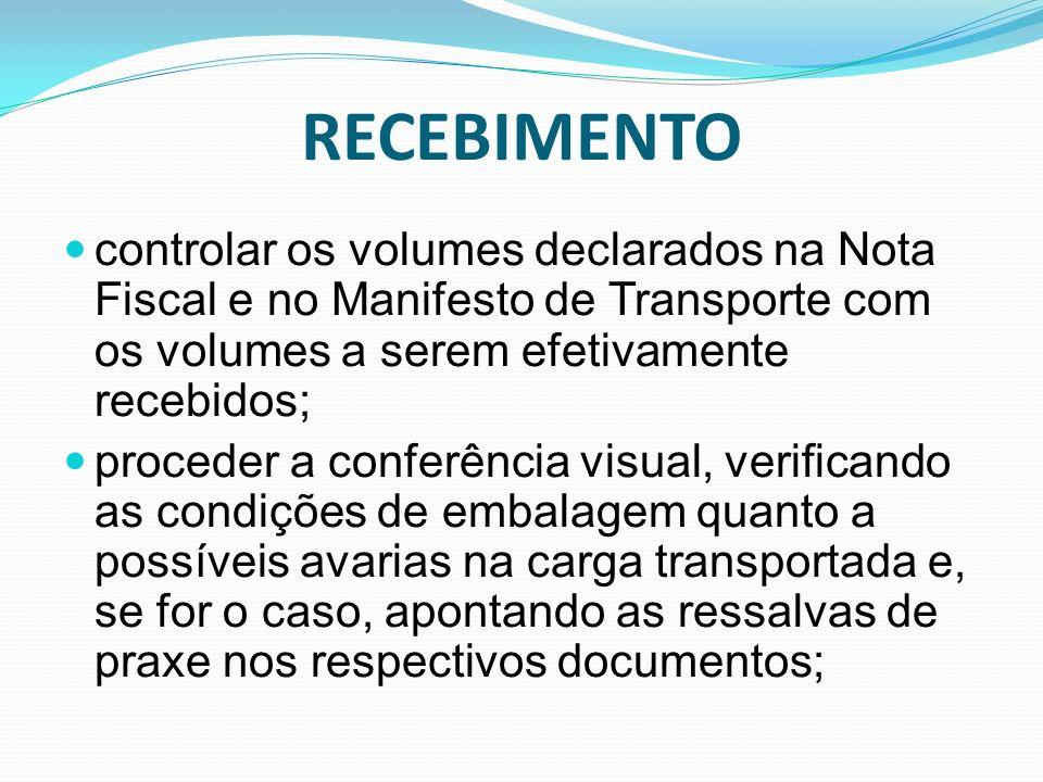 RECEBIMENTO controlar os volumes declarados na Nota Fiscal e no Manifesto de Transporte com os volumes a serem efetivamente recebidos;