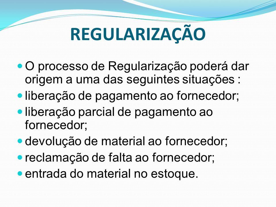 REGULARIZAÇÃO O processo de Regularização poderá dar origem a uma das seguintes situações : liberação de pagamento ao fornecedor;