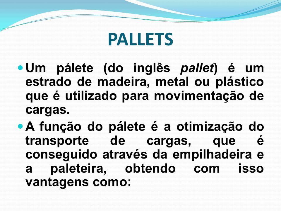 PALLETS Um pálete (do inglês pallet) é um estrado de madeira, metal ou plástico que é utilizado para movimentação de cargas.