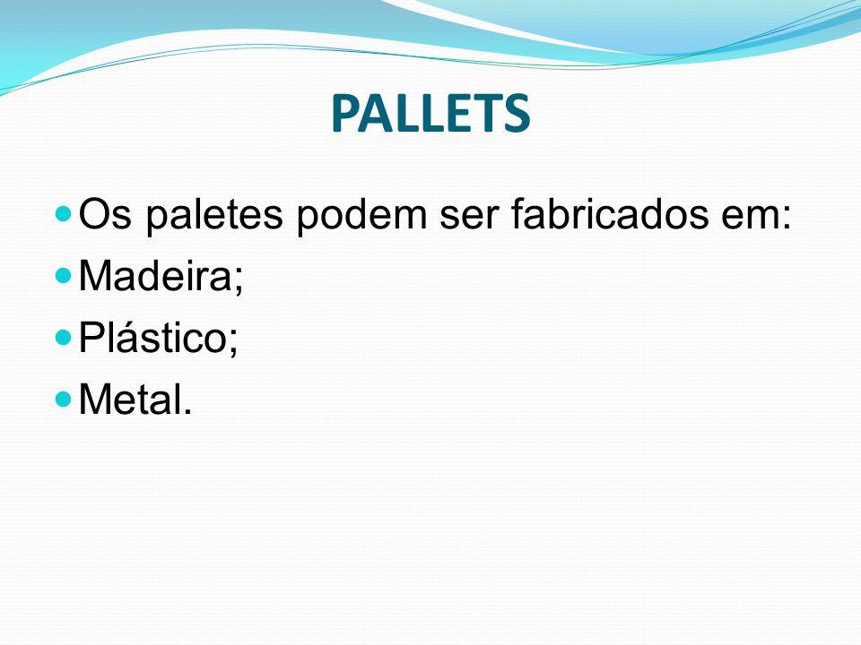 PALLETS Os paletes podem ser fabricados em: Madeira; Plástico; Metal.