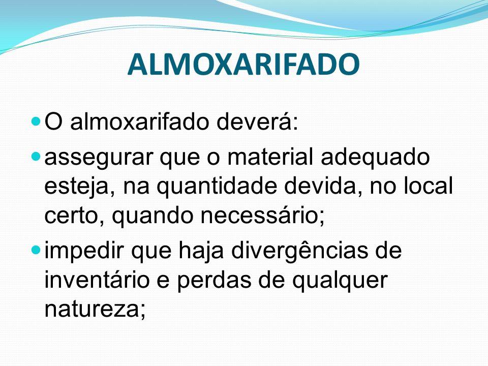 ALMOXARIFADO O almoxarifado deverá: