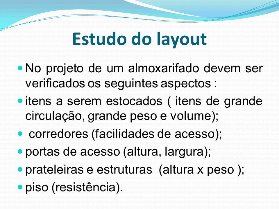 Estudo do layout No projeto de um almoxarifado devem ser verificados os seguintes aspectos :